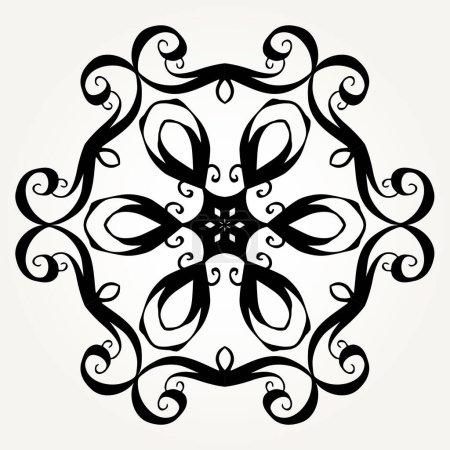 Illustration for Ornate doodle round rosette in black over white backgrounds. Mandala formed with hand drawn calligraphic elements. - Royalty Free Image