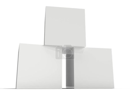 Photo for Three white boxes on white background. 3D rendering - Royalty Free Image