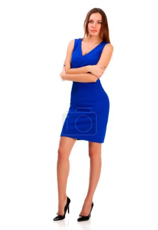 Photo for Pretty woman in blue dress posing against white background, isolated - Royalty Free Image