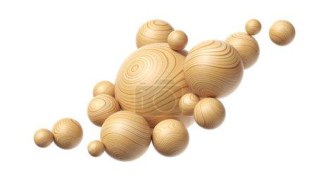 Photo pour Composition sphères en bois isolées sur fond blanc. Illustration 3d - image libre de droit