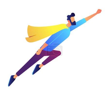 Illustration pour Homme d'affaires prospère survolant l'illustration vectorielle en costume de super-héros. Superhéros masculin, professionnel réussi, croissance de carrière rapide et concept de leadership d'entreprise. Isolé sur fond blanc . - image libre de droit