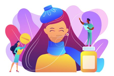 Illustration for Sick woman with flu and cold symptoms and doctors, tiny people. Seasonal flu, contagious respiratory illness, influenza viruses treatment concept. Bright vibrant violet vector isolated illustration - Royalty Free Image