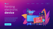 Renting electronic device concept landing page