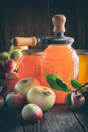 Photo pour Pots en verre de jus de pomme, fruits de pomme et peut couvercle machine de fermeture pour la mise en conserve sur la table de cuisine . - image libre de droit