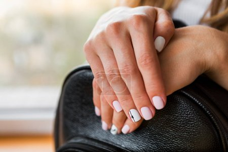 beautiful female hands with stylish manicure