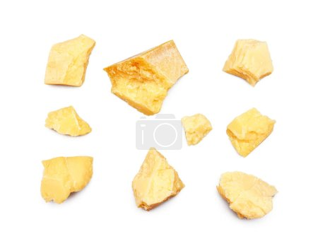 Photo for Set of Parmesan cheese piece, isolated on white background - Royalty Free Image