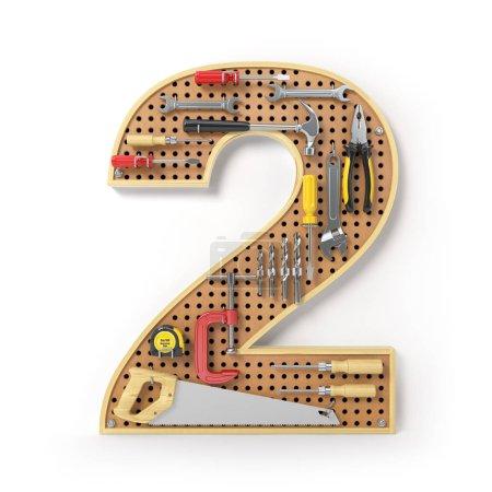 Photo pour Numéro 2 deux. Alphabet à partir des outils sur le tableau de bord métallique isolé sur blanc. Illustration 3d - image libre de droit