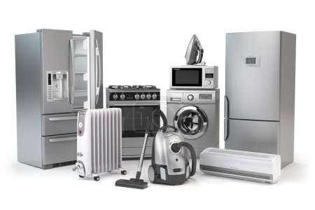Appareils ménagers. Ensemble de techniques de cuisine domestique isolé sur fond blanc. Réfrigérateur, cuisinière à gaz, four à micro-ondes, lave-linge aspirateur climatiseur et fer à repasser. Illustration 3d