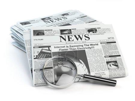 Photo pour Des nouvelles. Loupe avec des journaux périodiques ho nouvelles isolés sur blanc. Illustration 3d - image libre de droit