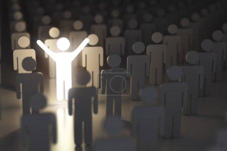 Photo pour Se démarquer de la foule, la différence et le concept de leadership. Beaucoup de gens et une seule lueur. Illustration 3d - image libre de droit