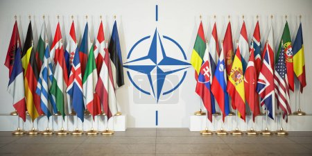Photo pour L'OTAN. Drapeaux des mémoires de l'Organisation du Traité de l'Atlantique Nord et symbole. Illustration 3d - image libre de droit