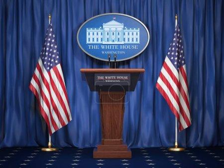 Photo pour Réunion d'information du Président de nous aux États-Unis à la maison blanche. Tribune du podium enceinte avec drapeaux Usa et signe d'Houise blanc. Notion de politique. illustration 3D - image libre de droit