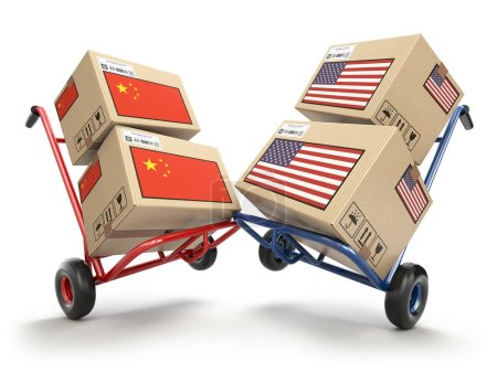 Photo for USA China economic trade war market conflict concept.  Two opposing hand trucks and cardboard boxes with USA and China flags., 3d illustration - Royalty Free Image