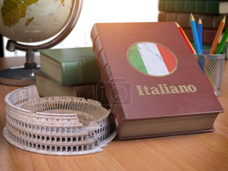 Photo for Studying and learn Italian concept. Book with flag of Italy and Coliseum on the table. 3d Iluustration - Royalty Free Image