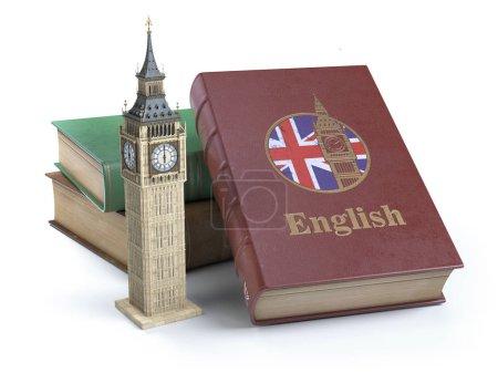 Photo pour Étudier et apprendre le concept anglais. Réservez avec le drapeau de la Grande-Bretagne et Big Ben tour isolée sur blanc. Iluustration 3D - image libre de droit