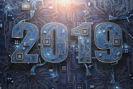 Photo for 2019 on circuit board or motherboard with cpu. Computer technology and internet commucations digital concept. Happy new 2019 year. 3d illustration - Royalty Free Image