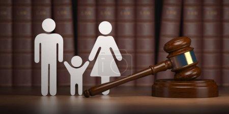 Photo pour Droit de la famille. Gavel et les formes des hommes, des femmes et des enfants avec des livres. Illustration 3d - image libre de droit