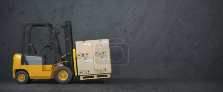 Photo for Forklift truck with cardboard boxes on  dirty wall background. 3d illustration - Royalty Free Image