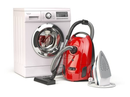 Appareils ménagers. Groupe d'aspirateur, fer et machine à laver isolé sur fond blanc. Illustration 3d