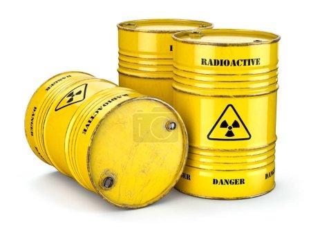 Photo pour Barils avec déchets radioactifs isolés sur blanc, Fabrication de l'énergie nucléaire et l'utilisation de matières radioactives. Illustration 3d - image libre de droit