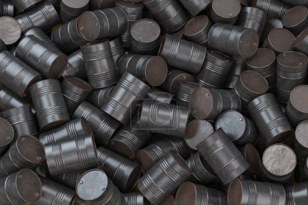 Photo pour Un tas de barils de pétrole rouillés. Pollution chimique et déchets de l'industrie pétrolière. Illustration 3d - image libre de droit