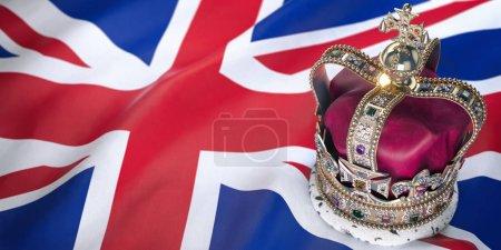 Photo pour Couronne royale d'or avec des bijoux sur le drapeau britannique. Symboles du Royaume-Uni Royaume-Uni. illustration 3D - image libre de droit