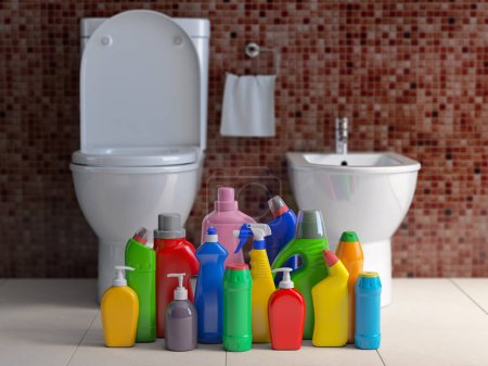 Photo for Detergent bottles and containers. Cleaning supplies in wc bathroom toilet  interior backgrount. Home cleaning service concept. 3d illustration - Royalty Free Image