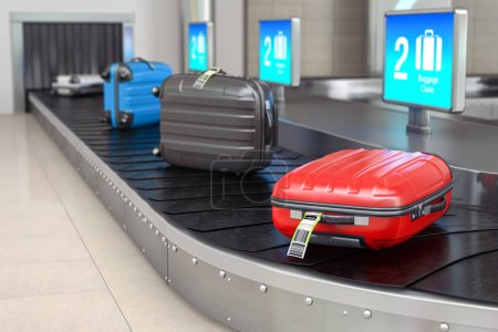 Photo pour Réclamation des bagages dans l'aérogare. Valises sur la courroie transporteuse de bagages de l'aéroport. Illustration 3d - image libre de droit