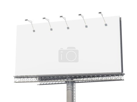 Photo for Empty billboard isolated on white background. 3d illustration - Royalty Free Image