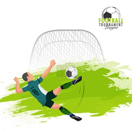 Football player kicking and aiming towards goalpost and goalpost on green brush stroke background.