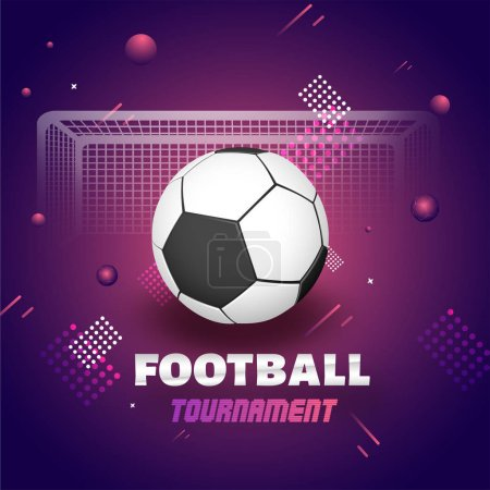 Football Tournament banner or poster design with football and goalpost on abstract background.