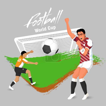 Football World Cup poster or banner design with football players and football, goalpost on brush stroke background.