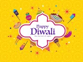 Festival of Lights Diwali celebration poster or banner design with creative lit lamps and firecrackers on yellow seamless pattern background