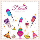 Happy Diwali Festival Of Lights background with illustration of firecrackers and creative oil lamps for celebration concept