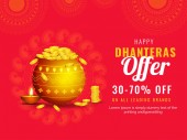 Happy Dhanteras offer 30-70% discount offer with illustration of golden coin pot on red ornamental background