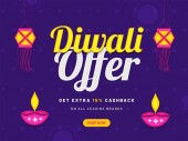 Diwali offer with extra 15% cashback advertising poster or banner design with illuminated oil lamps and paper lamp (kandil) hang on purple background