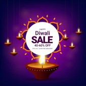 Diwali sale with 40-60% discount offer realistic illuminated oil lamps on shiny purple background Advertising template or flyer design