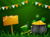 St Patrick's Day celebration concept illustration of traditional coin pot with leprechaun hat on green ray background
