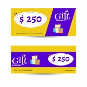 Yellow and purple gift coupon collection with gift boxes and bes