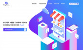 Online Pharmacy service with isometric view of medical shop on s