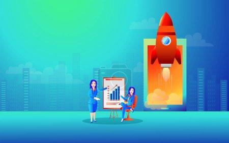 Femmes d'affaires donné présentation infographique avec lancement d'un succ