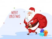 Greeting card design with illustration of santa claus lifting a