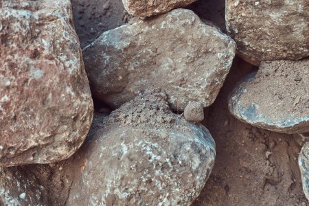 Close-up image of large gray stones. Stones background.