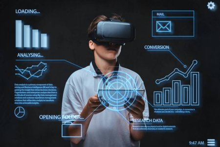 Teenager dressed in a white t-shirt using virtual reality glasses with graph charts, numbers, lines. Technology concept.