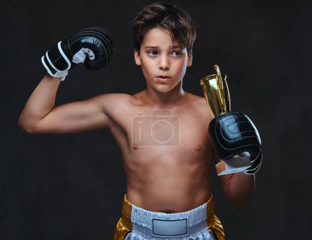 Young shirtless boxer champion wearing gloves hold...
