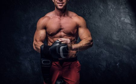 Photo for Muscular man is prepaired for boxing sparring, he is wearing his gloves and doing some warm up. - Royalty Free Image