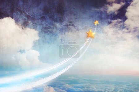 Two stars flying above the clouds, up into space. Dream together, relationships and dreams, a conceptual image