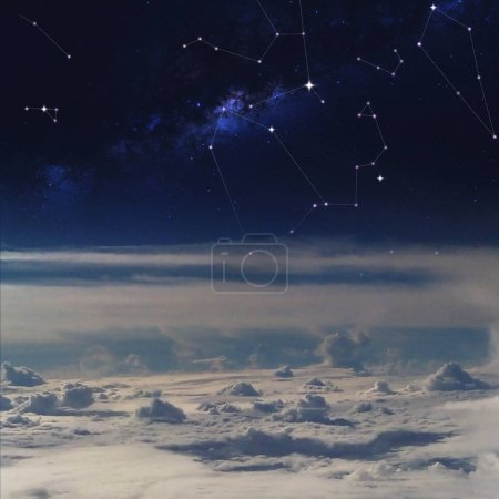 Space above the clouds, constellations in starry sky