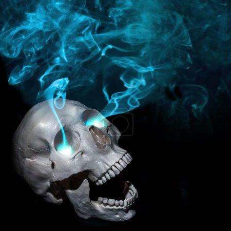 Halloween. Dead man and magic. Screaming human skull with eye smoke. Black background
