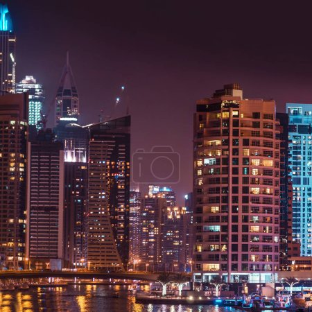 Photo for Night panorama of Dubai Marina area of large modern city. Skyscrapers Of Dubai - Royalty Free Image